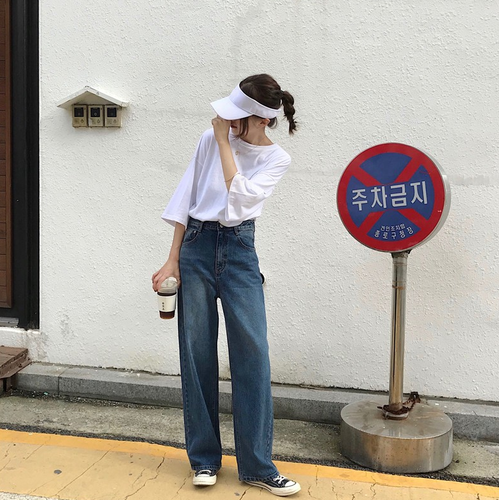 Japanese Harajuku Chic Must Have Loose Street Style Baggy Dark Blue Broad Leg Cowboy Trousers New Fashion Hot Sale Jeans