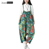 Jumpsuit Women Vintage Washed Floral Printed Wide Leg Bib Denim Overalls Jean Jumpsuits Female Large Size Drop Crotch Rompers