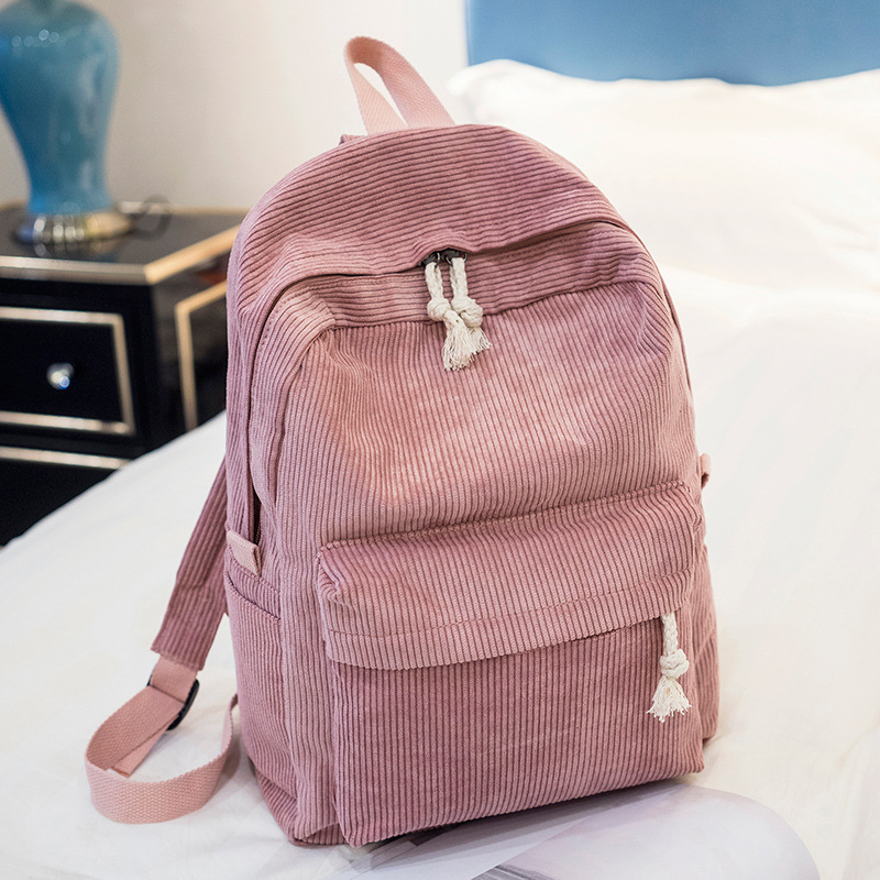 Miyahouse Preppy Style School Bag For Teenage Girls Soft Fabric Backpack Corduroy Design Striped Travel Bag With Large Capacity