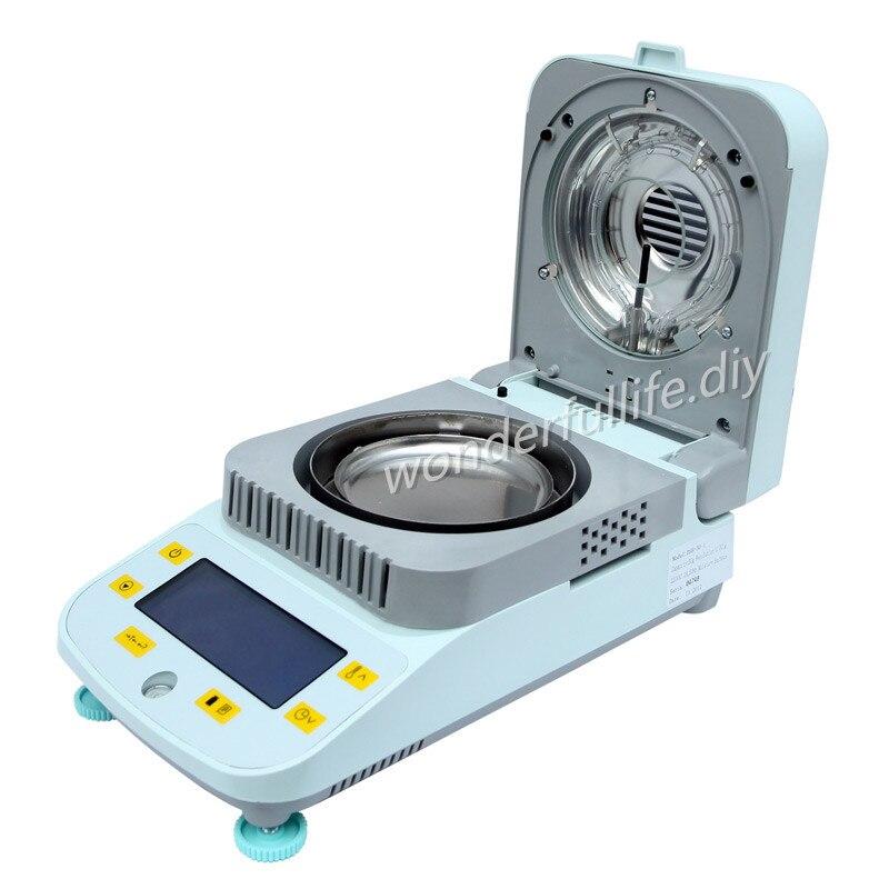 Materiale professionale Alogena Analizzatore di Umidità 100g/0.01g di umidità del tester del tester per PC di Plastica PE grano Chimica