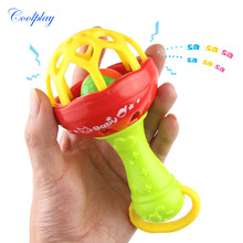 1pc Rattles Develop Baby Intelligence Grasping Gums Plastic Hand Bell
