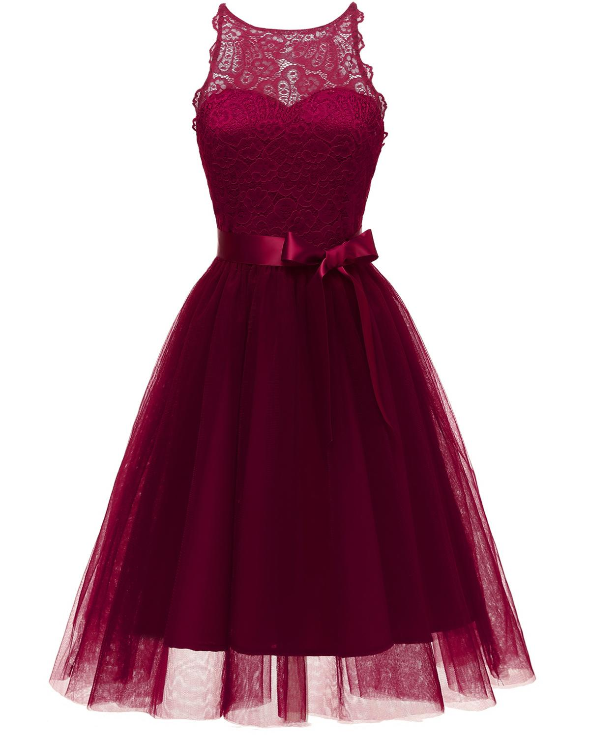Halter Burgundy Lace Tulle   Cocktail     Dresses   With Bow vestidos elegant Short Formal   Dress   party 2019 Homecoming   Dress