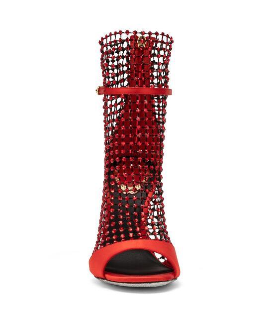 Gladiateur Sandales Embellie Habillées Maille Chaussures Velours Bling Picture Cristal Picture as Luxe De Mariée As Peep Rouge Femmes Creux Mariage FZwtznOf0q