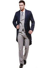 Custom Made Handsome Men Slim Fits Suits Tuxedos Grooms Suit Men's Wedding Suits Blazers+Pants+Vest