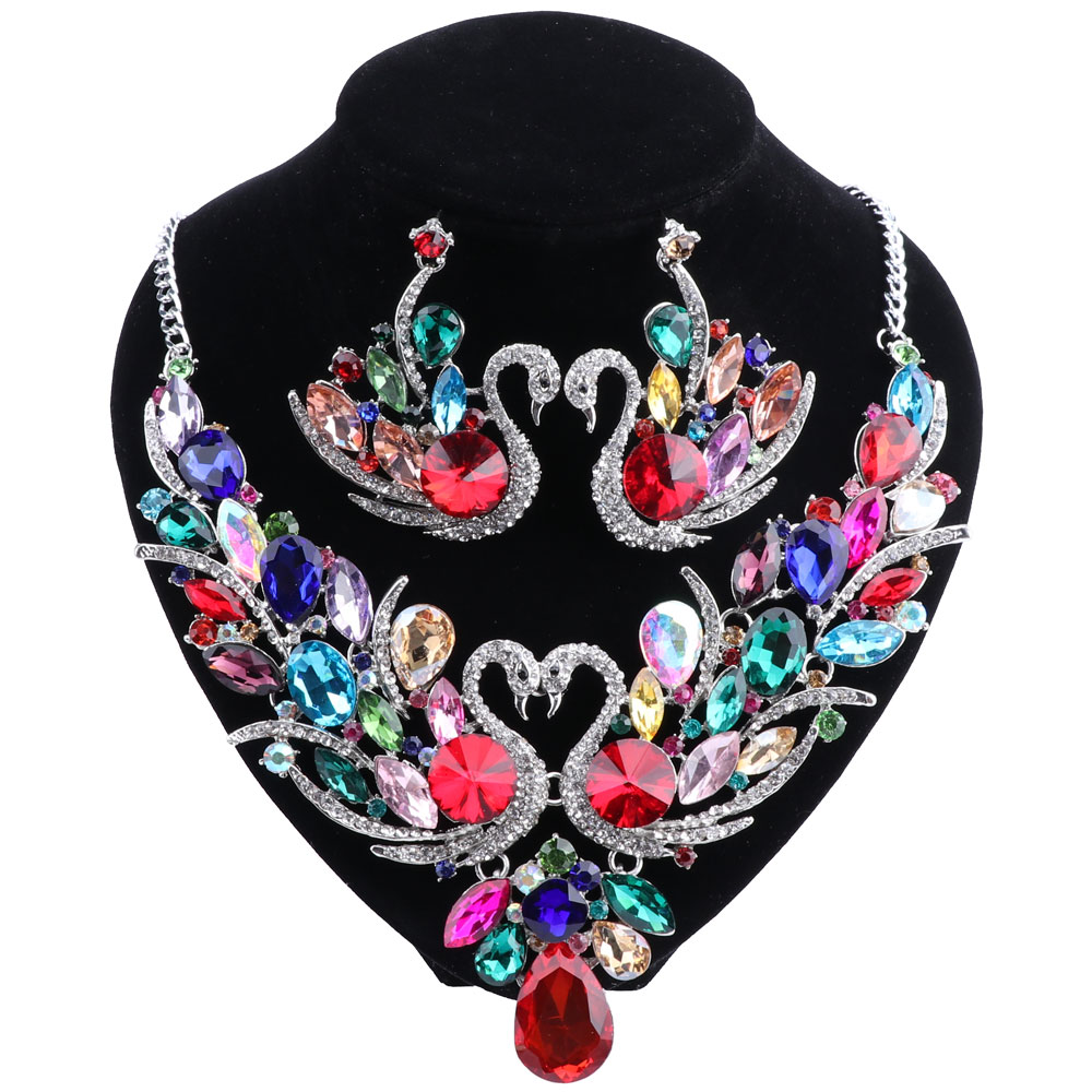 Trendy Multicolor Cubic Zirconia Jewelry Sets For Women Best Gifts 10 Colors Crystal Swan Earring And Necklace Sets