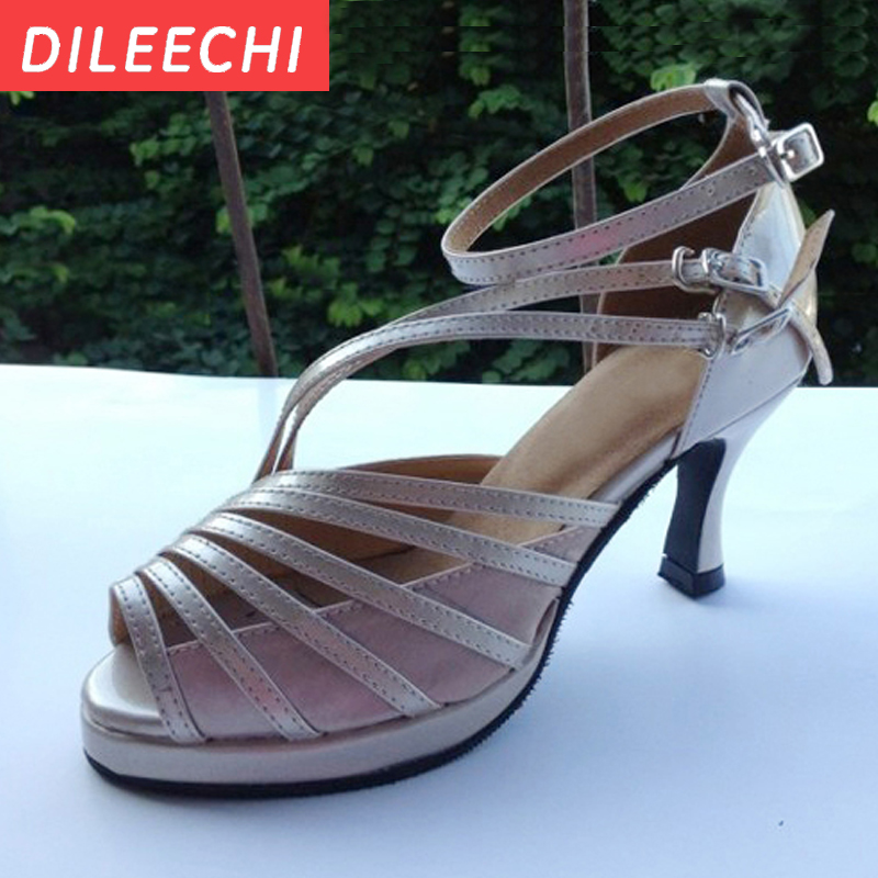 Cheap Price Dileechi Skin Pu Womens Platform Latin Dance Shoes High Heeled 7.5cm Evening Dress Shoes Party Square Dance Shoes Strengthening Waist And Sinews Sports & Entertainment
