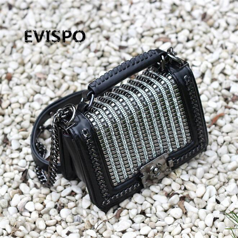 HOT 2017 EVISPO Handbag black/white 2-color shoulder bag sac a main femme sac a main femme de marque luxe cuir free shipping hongu genuine leather shoulder messenger bags for women pillow shape sac a main femme de marque luxe cuir 2017 black pink online