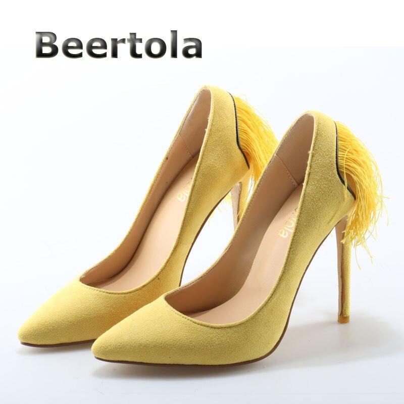 En Femmes Grande Taille 42 Minces Pompes Haute Talons Mode Jaune 43 Daim Ultra Chaussures Frange Beertola Pour wYxOpq54