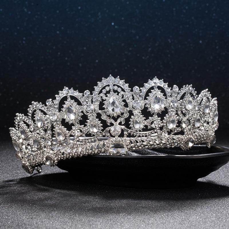 European Diadem Caroque Big Crown Crystal Tiara Wedding