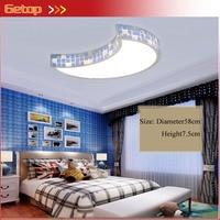 ZX Children Girl Bedroom Crystal LED Ceiling Lamp Modern Cartoon Moon Acryl Remote Control Light Fixture