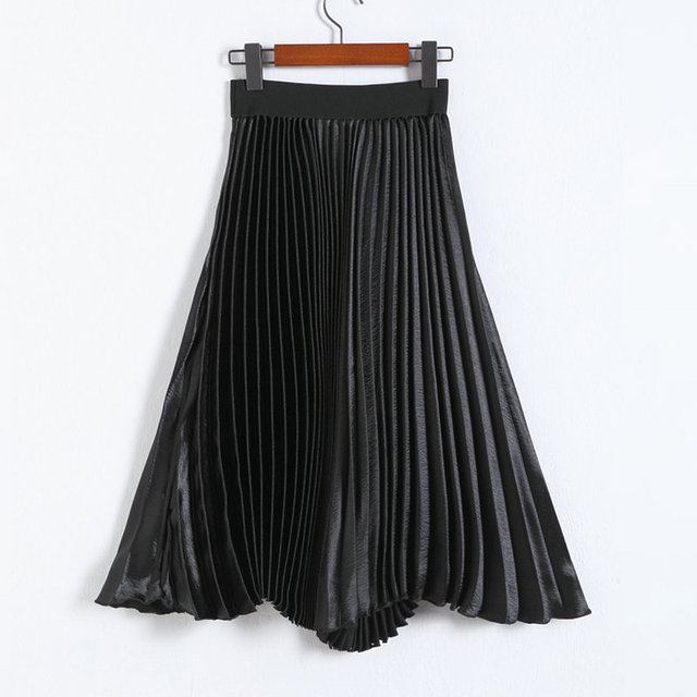 Fashionable Glossy and Shining Pleated Skirt Free Size Pink/Grey/Black