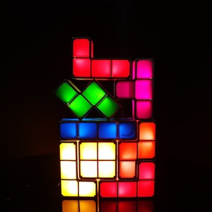Image 2 - DIY Tetris Puzzle Light Stackable LED Desk Lamp Constructible Block Night Light Retro Game Tower Baby Colorful Brick Toy