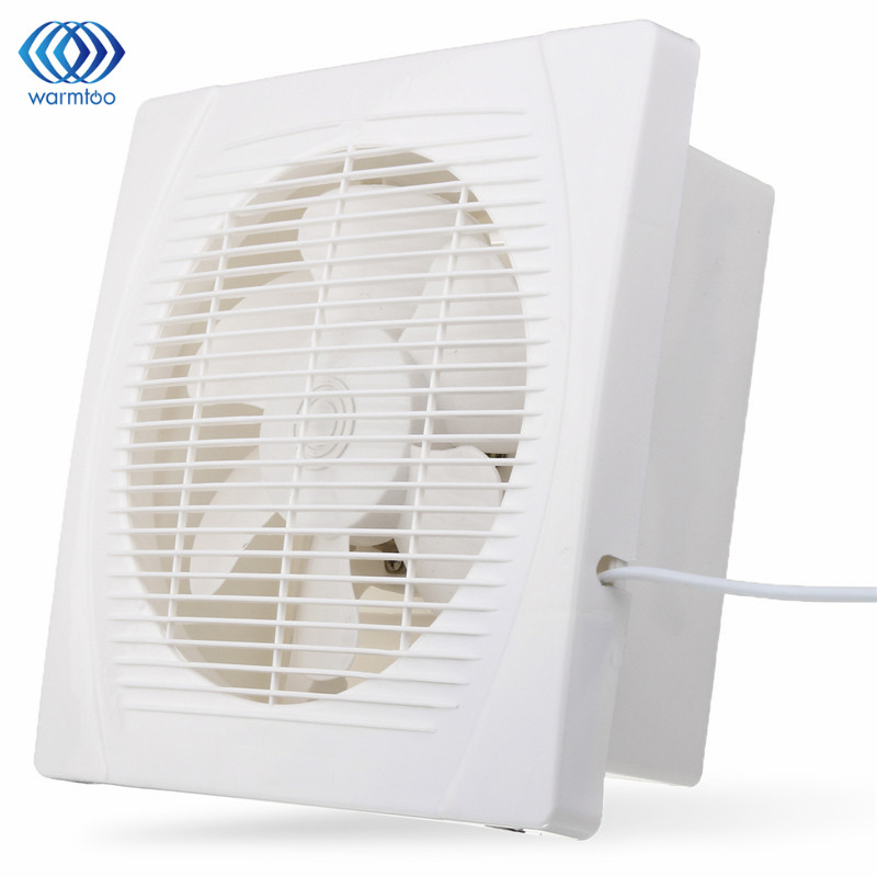 White 30w 8 inch ventilation extractor exhaust fan blower window wall kitchen bathroom toilet for Size of exhaust fan for bathroom