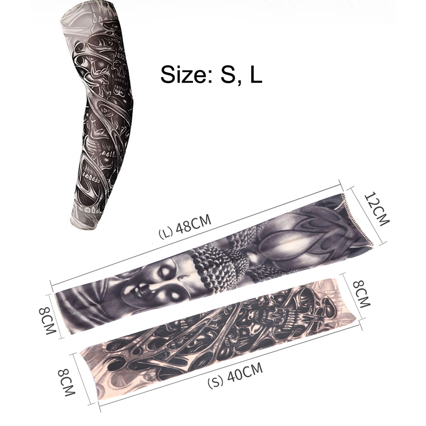 Free Shipping 3D Print Fake Tattoo Sleeves Men Women Summer UV Sun Protection Cool Cycling Sleeves S L in Men 39 s Arm Warmers from Apparel Accessories