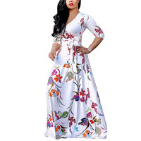 High Quality 2017 Women Summer Beach Sexy Fashion Boho Long Sleeves Floral Printed Deep-V Neck Maxi Dress