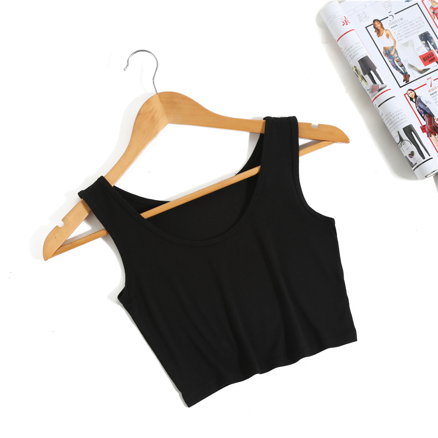 8a5b6946744e50 Sleeveless Short Cotton T Shirts Female Top Casual Tees Cute Cropped Tank  Top Bralet Brand New Women s Summer Crop Top