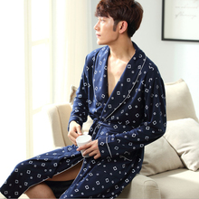 Cotton Home Men's Robes With Waistband Square Pattern Drop Shipping