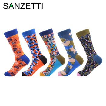 SANZETTI 5 pair/lot Colorful Combed Cotton Causal Men's Skateboard Socks Cool Pattern Individuation Funny Wedding Socks For Gift