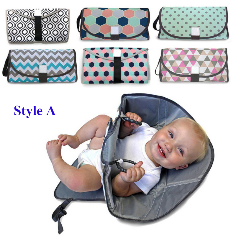 2 Styles Portable Diaper Changing Pad Clutch with Barrier Foldable Clean Hands Changing Station Soft Flexible Travel Mat diaper changing pad that keeps hands away