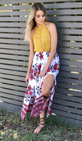 New Fashion Women Skirt Floral Print Slit Bohemian Style Woman Clothing Vintage Elegant Skirts