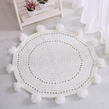 New Style 80cm Round Solid Color Cotton Knitting Blanket Autumn Spring Throw Carpet for Home Decoration Child Rug Gift