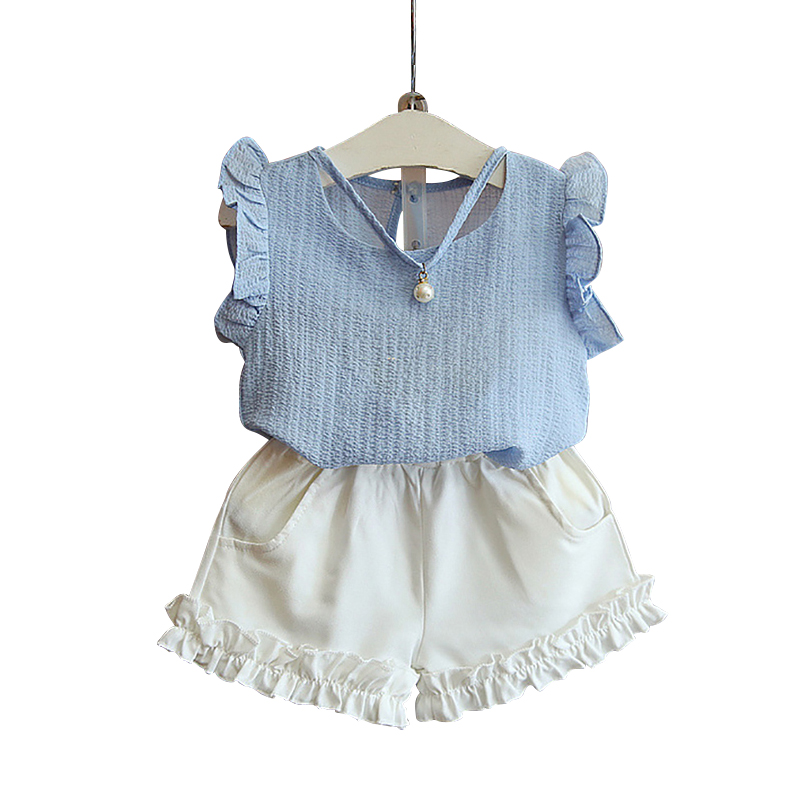 Girls Clothes Summer Girl Chiffon Sleeveless Tops Shorts Girl Casual Solid 2Pcs Kids Suits Girl Flounce Children Clothing Set