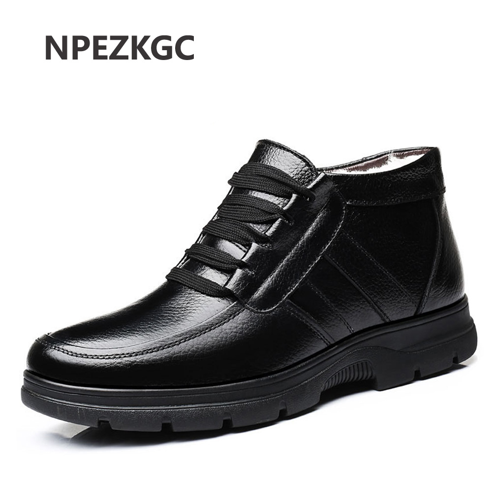 2018 Suitable for Winter Men Genuine leather Boots High quality Plush male warm snow boots Oxfords men Shoes Cotton boots hombre wuaumx high quality sheepskin leather baseball caps for men genuine leather winter russian hats for male warm hat with ear flap