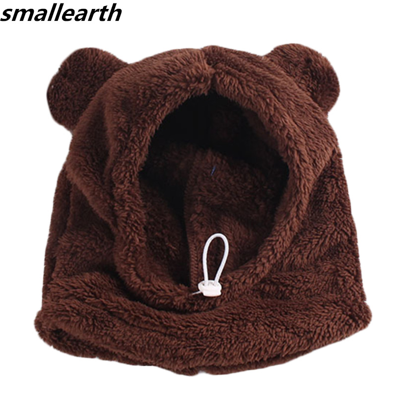 Autumn Winter Plush Baby Hats With Hooded Scarf Kids Cute Bear Ears Warm Thick Plush Beanies Baby Hats Caps For Boys Girls Hats