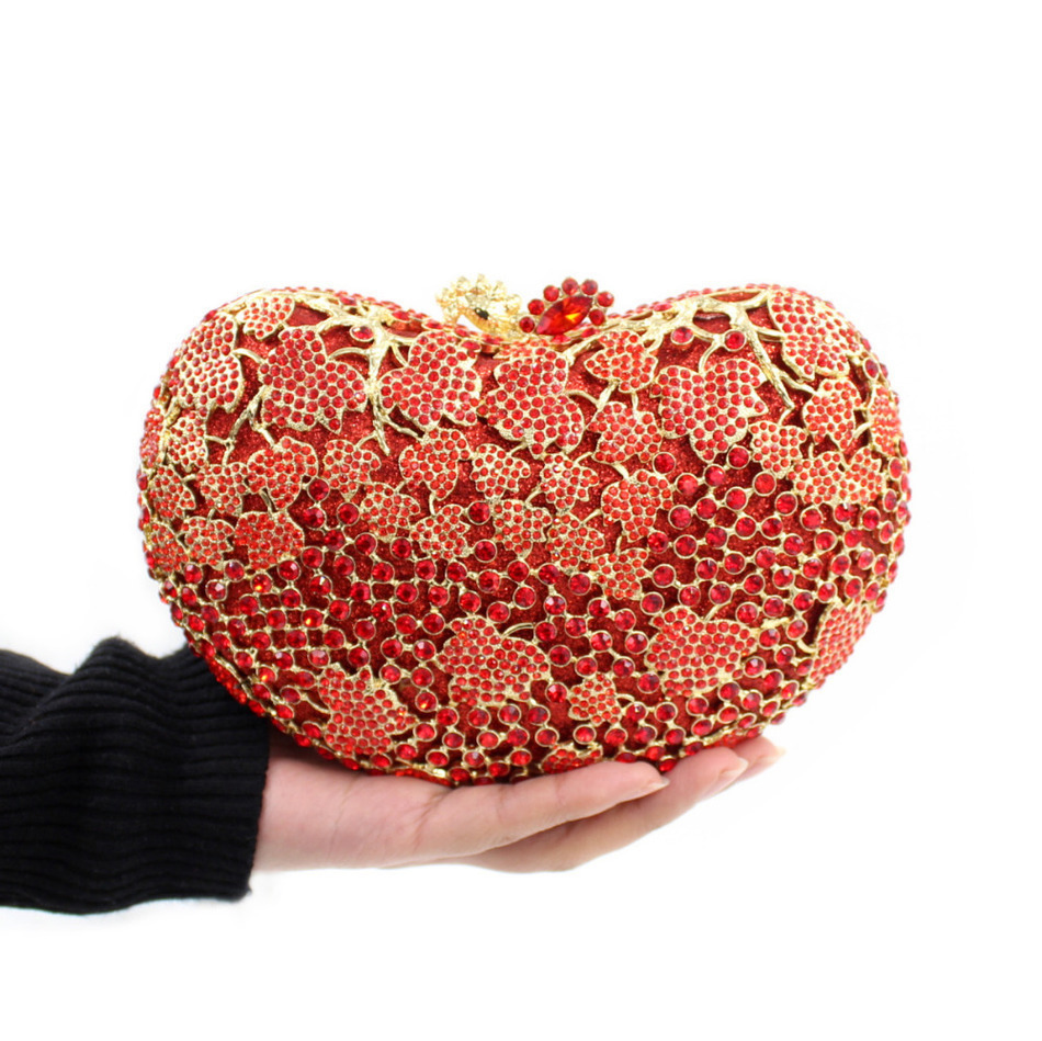 ФОТО Women Luxury Eveningbags Clutch Handbag Love Heart Shape Crystal Evening Bags Mini Chain Party Wedding Purse Crossbody Red
