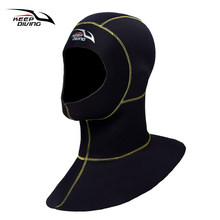KEEP DIVING 3mm Neoprene Scuba Diving Hood With Shoulder Snorkeling Equipment Hat Cap Winter Swim Warm Wetsuit Spearfishing(China)