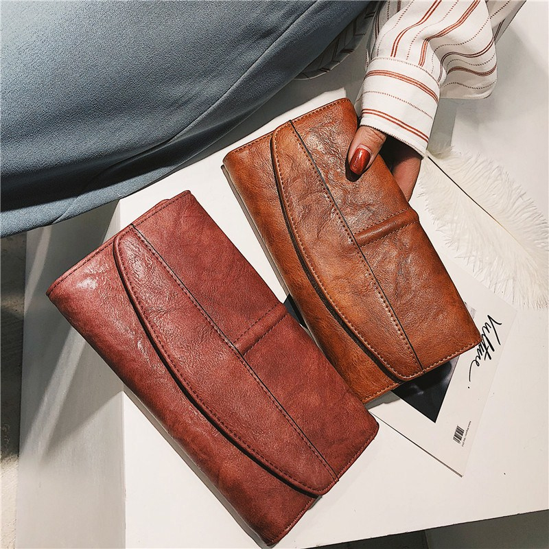 Cowhide Leather Trifold Wallet Women Long PU Leather Women's Clutch Purse