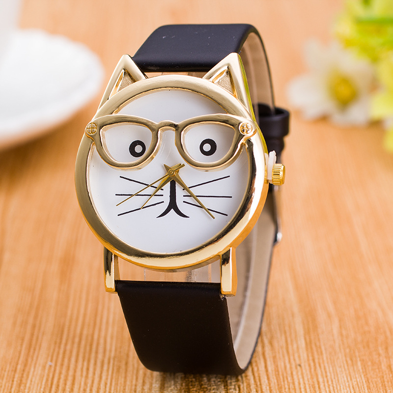 MINHIN Cute Glasses Cat Watch Hot Selling Leather Strap Women Quartz Wrist Watch Reloj Mujer Relogio Feminino Multi Colors