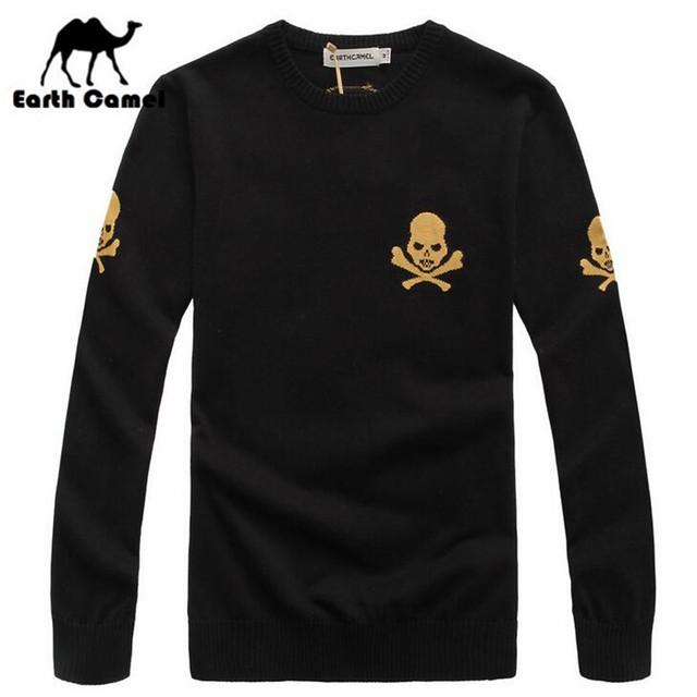 Terra Camelo Crânios Design de Moda Marca Camisola dos homens, Homem de Alta Qualidade O-pescoço Pulôver de Malha Outwear, Outono/Blusas de inverno