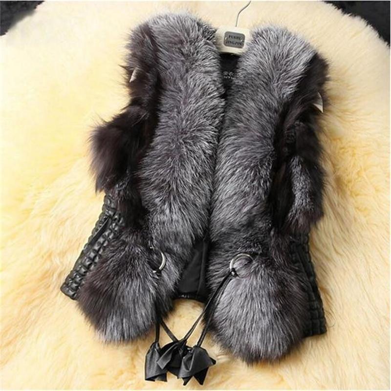 2016 Qara Faux Kürk Vest İsti Qış kürklü qadın palto