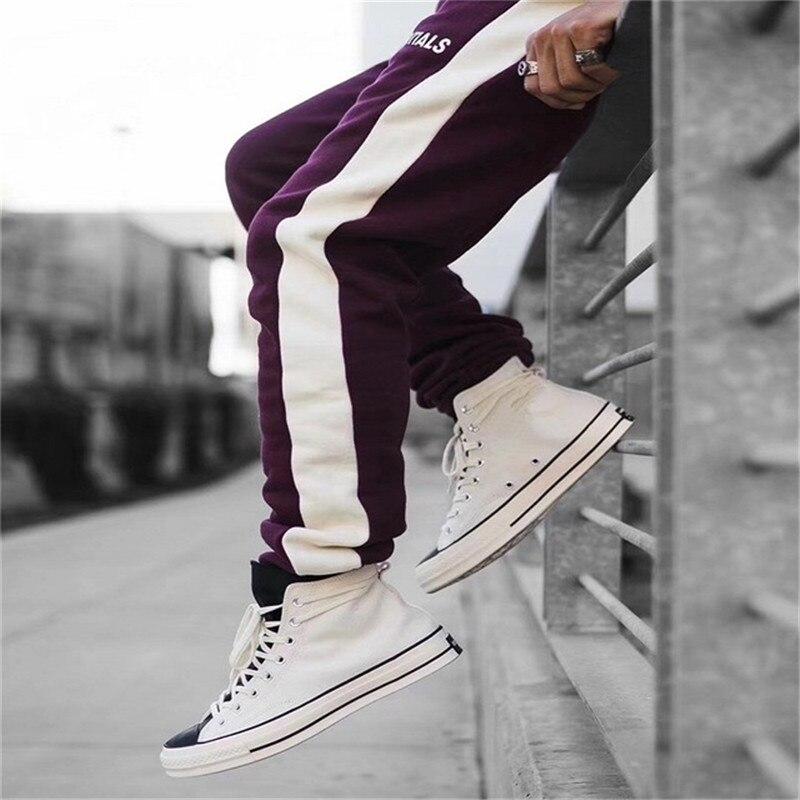 2019 Spring Autumn Elastic Casual Sweatpants Pants Mens Streetwear Side Stripe Drawstring Trousers Color Block Pant 30-36