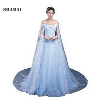 В наличии Lace up голубой фатиновое Свадебное бальное платье Дешевые кружевными аппликациями Пышное Платье Пол Длина Свадебная вечеринка пла