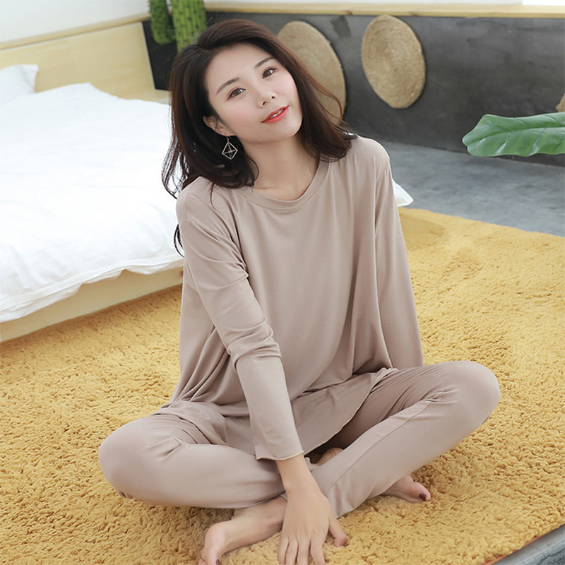 women   pajamas     set   Autumn new home suits Modal long-sleeved shirt + trousers two piece   sets   loose sleepwear pijama lingerie