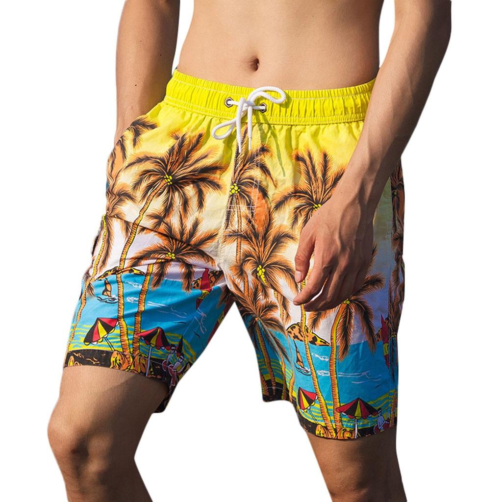 Men Casual 3D Graffiti Printed Beach Work Casual Men Short Trouser Shorts Pants