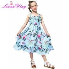 Girls Chiffon Floral Twirl Dress Circle Dress Summer Beach Sleeveless Child Ball Gown Kids Dresses For Girls 2-12 Years
