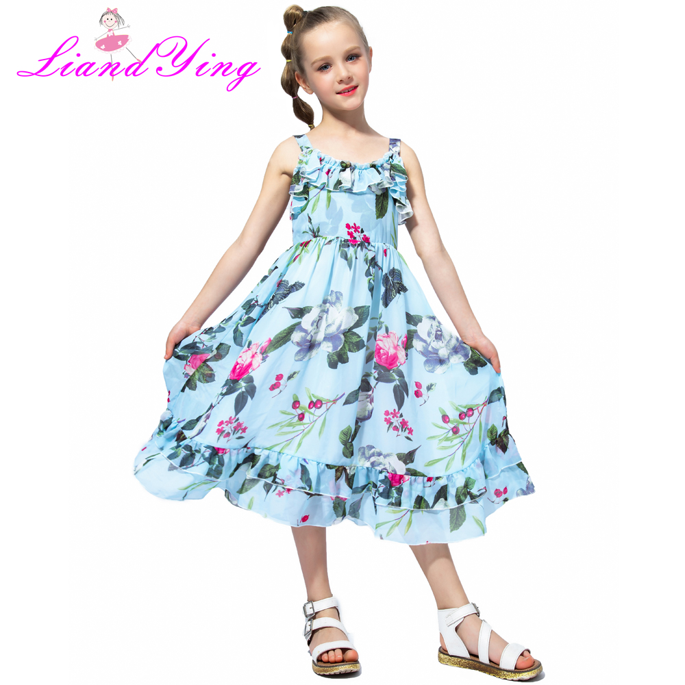 Girls Chiffon Floral Twirl Dress Circle Dress Summer Beach Sleeveless Child Ball Gown Kids Dresses For Girls 2-12 Years new girls bohemia children dresses summer beach dress floral v neck sleeveless dress jumpsuits maxi dress 4 6 8 10 12 14 years