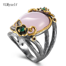 Big Oval Pink stone Ring Gun Black+ Gold 2 tone colors Trendy Flower Jewellery Women Jewelry Top quality Fast delivery Good pack