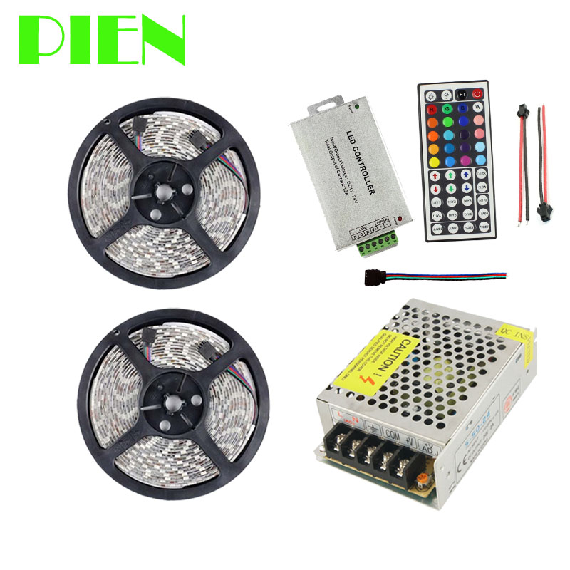 10m 24V rgb led strip light 5050 60 leds m Waterproof IP65 ribbon tiras tape + RF Remote control + Power adapter Free shipping non waterproof led light 5050 rgb led strip 5m 10m fita de led tape diode feed tiras lampada dc 12v remote control power adapter