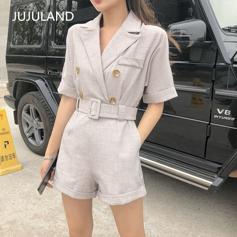 JUJULAND Ladies summer Casual Playsuits Button Fly Jumpsuits with Sashes thin suit fabri ...