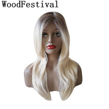 WoodFestival Brown Mix Color Ladies Heat Resistant Synthetic Hair Wigs for Women Long Straight Cosplay Wig