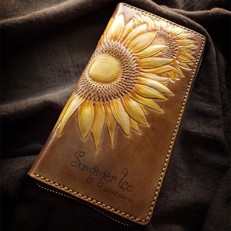 Handmade Customized Wallets Carving Honeybee Sunflower Purses Women Long Clutch Vegetable Tanned Leather Wallet Top Grade Gift