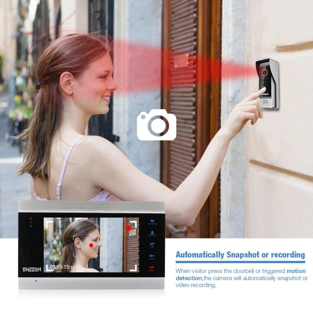TMEZON 7 дюймов TFT Проводная система видеодомофона с 1x 1200TVL Водонепроницаемый дверной телефон камера, поддержка записи/снимка дверной Звонок - 5