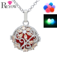 Glow In The Dark Beads White Gold Plated Crystal Flower Hollow Locket Pendant Necklace For Aromatherapy