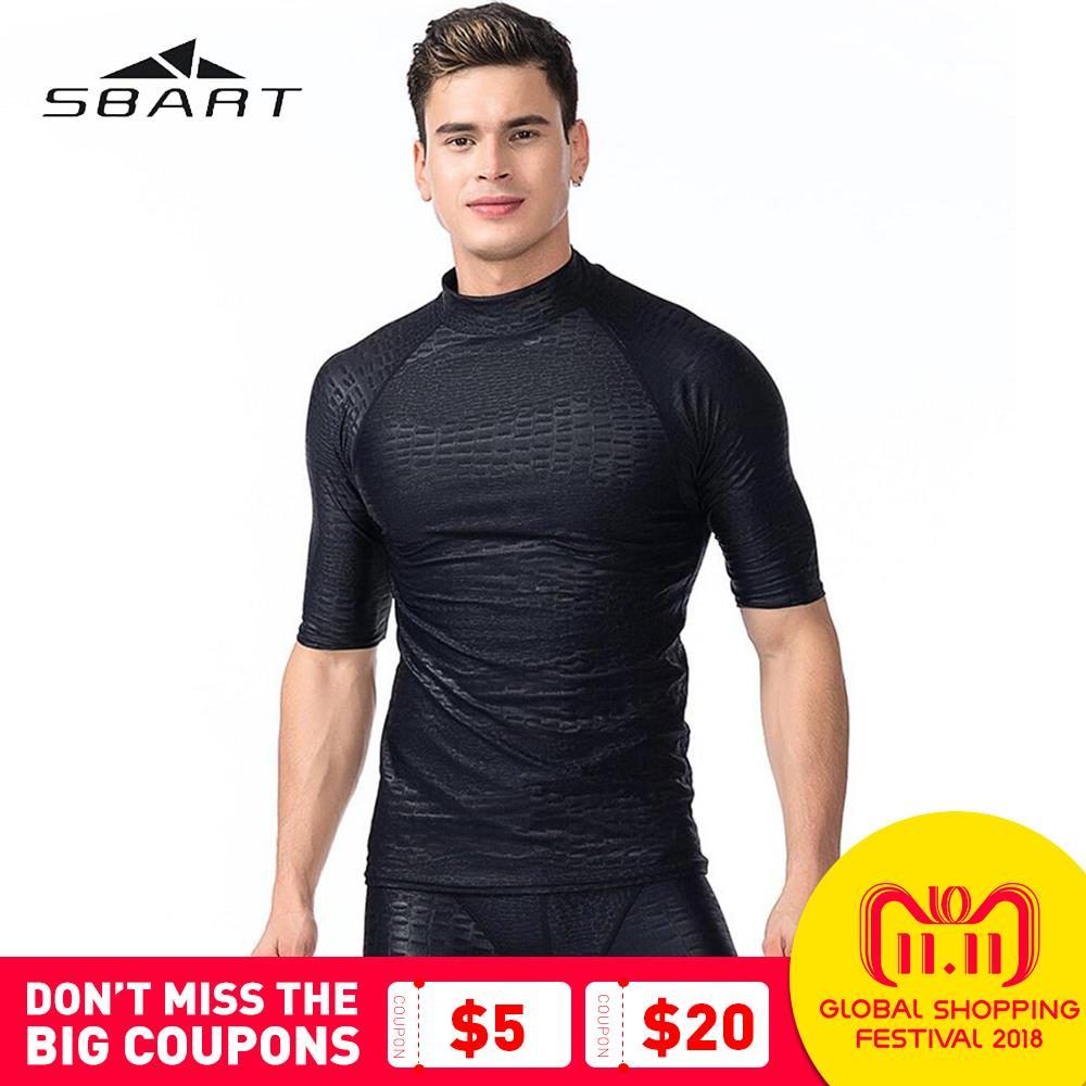 SBART Swimwear Rash Guards Men Quick-Dry Diving Suit Swimsuit Snorkeling Swimming Surfing Rash Guard Short Sleeves T-Shirts цена