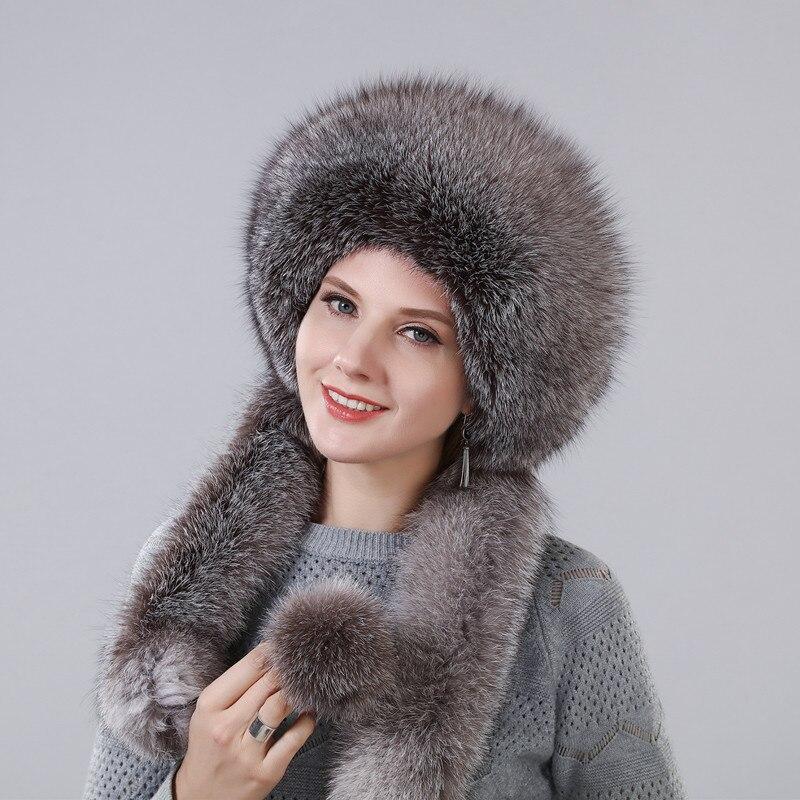 Sombrero de invierno de mujer con piel de zorro Natural Real longitud Extra se puede utilizar como bufanda con colgante cadena en las tapas traseras