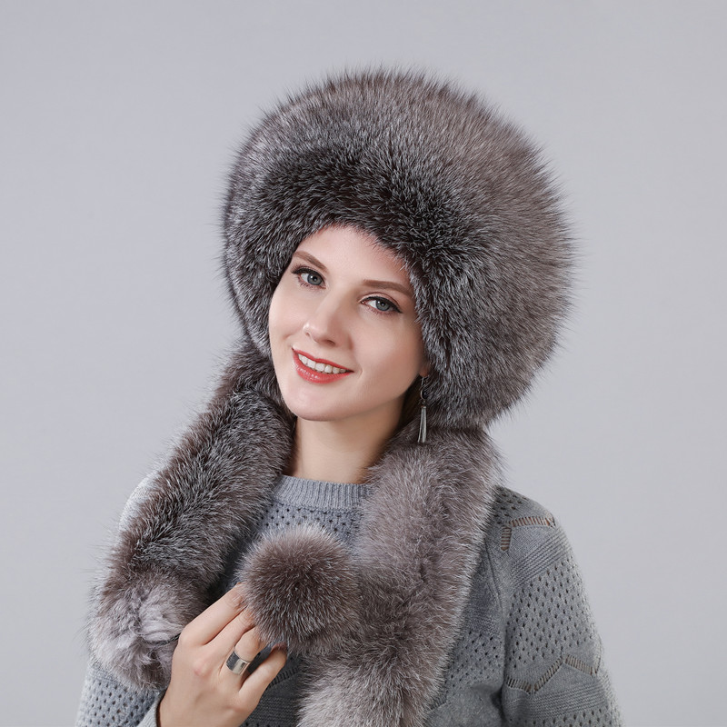 Women's Winter Hat With Real Natural Fox Fur Surround Extra Length Can Be Used As A Scarf With Hanging Chain In The Back Caps